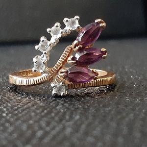 18k gold filled ring with clear & purple crystals